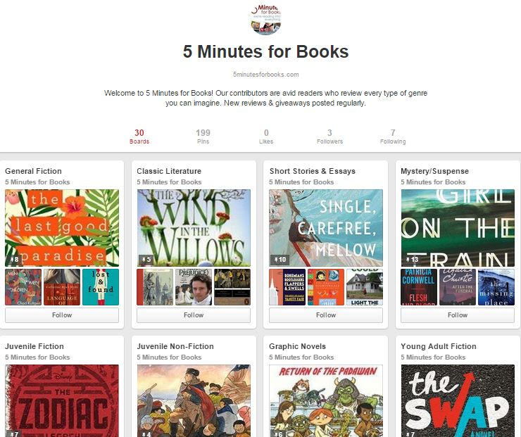 Follow 5 Minutes for Books on Pinterest
