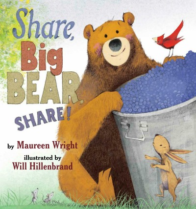A bear and a huge bucket of blueberries-- the perfect opportunity for a lesson on sharing!